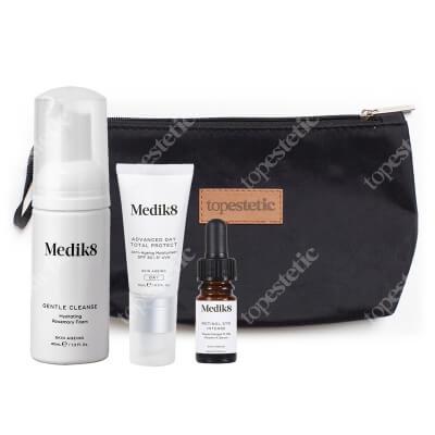 Medik8 3TR Travel Set ZESTAW Pianka oczyszczająca 40 ml + Serum z witaminą A 0,3%, 4 ml + Krem nawilżający PF 30, 15 ml+ Kosmetyczka