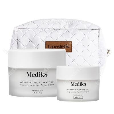Medik8 Advanced Night Set ZESTAW Odbudowujący krem naprawczy na noc 50 ml + Odżywczy krem pod oczy 15 ml + Kosmetyczka