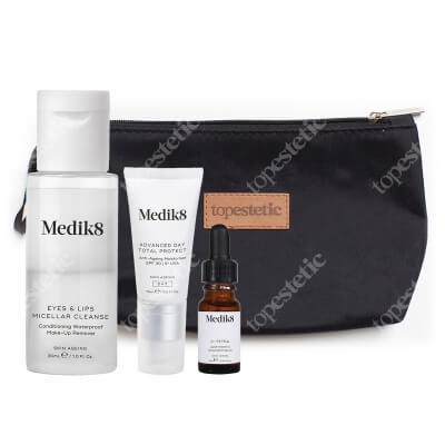 Medik8 C-Tetra Luxe Travel Set ZESTAW Płyn do demakijażu 30 ml + Serum z witaminą C 8 ml + Krem nawilżający SPF 30, 15 ml + Kosemtyczka 1 szt