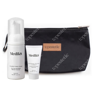 Medik8 Calmwise Travel Set 2 ZESTAW Pianka oczyszczająca z kwasami 40 ml + Krem neutralizujący 15 ml + Kosmetyczka 1 szt