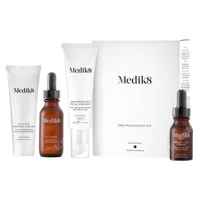 Medik8 Csa Philosophy Kit ZESTAW Serum z witaminą C 30 ml + Krem nawilżający SPF 30, 50 ml + Serum z witaminą A 15 ml + Żel oczyszczający 40 ml