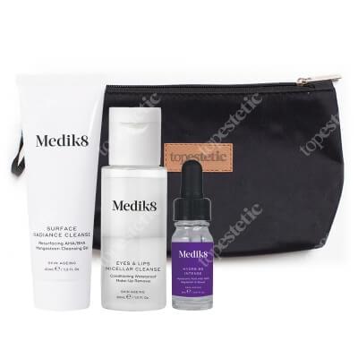 Medik8 Hydr8 B5 Intense Travel Set ZESTAW Płyn do demakijażu 30 ml + Żel oczyszczający z kwasami 40 ml + Serum z kwasem hialuronowym 8 ml + Kosmetyczka 1 szt