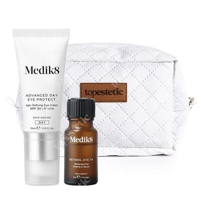 Medik8 Retinol Eye TR + Advanced Day Eye Protect spf 30 ZESTAW Serum z witaminą A pod oczy 7 ml + Krem pod oczy SPF 30, 15 ml + Kosmetyczka