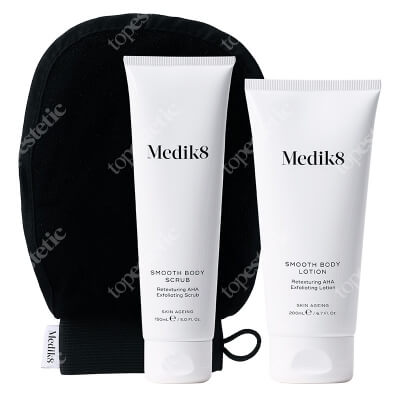 Medik8 Smooth Body Exfoliating Kit ZESTAW Peeling do ciała 150 ml + Balsam do ciała 200 ml + Rękawica do masażu ciała 1 szt