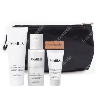 Medik8 Travel Set ZESTAW Żel oczyszczający z kwasami 40 ml + Krem neutralizujący 15 ml + Płyn do demakijażu 30 ml + Kosmetyczka 1 szt