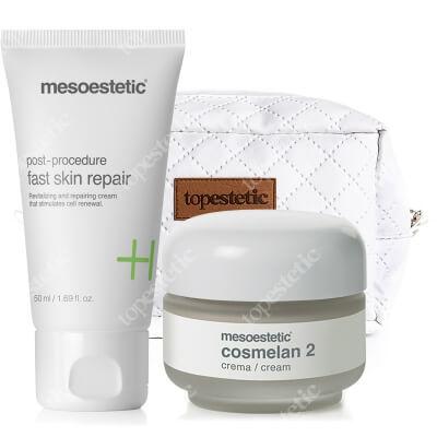 Mesoestetic Cosmelan 2 + Fast Skin Repair ZESTAW Krem na przebarwienia 30 g + Krem intensywnie regenerujący 50 ml + Kosmetyczka