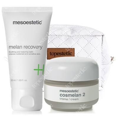 Mesoestetic Cosmelan 2 + Melan Recovery ZESTAW Krem na przebarwienia 30 g + Krem o silnych właściwościach natłuszczających oraz nawilżających 50 ml + Kosmetyczka