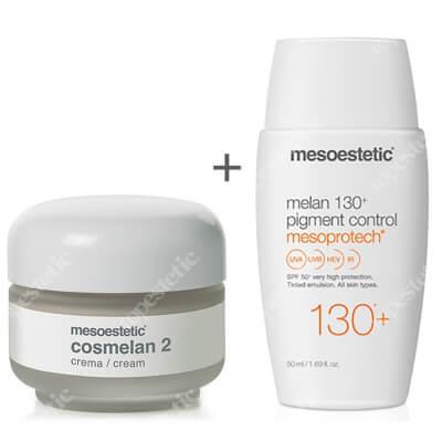 Mesoestetic Cosmelan 2 + Mesoprotech Melan 130+ ZESTAW Krem na przebarwienia 30 g + Fluid koloryzujacy SPF50+ 50 ml