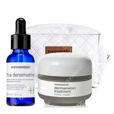 Mesoestetic Dermamelan + Ha Densimatrix ZESTAW Krem na przebarwienia 30 g + Serum z kwasem hialuronowym 30 ml + Kosmetyczka 1 szt