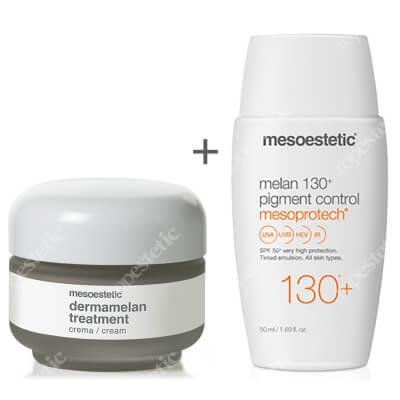 Mesoestetic Dermamelan + Mesoprotech Melan 130+ ZESTAW Krem na przebarwienia 30 g + Fluid koloryzujacy SPF50+ 50 ml