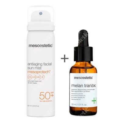 Mesoestetic Melan Tran3x + Mesoprotech Antiaging Facial Sun Mist ZESTAW Intensywny koncentrat o działaniu depigmentującym na noc 30 ml + Mgiełka do twarzy SPF 50+ 60 ml