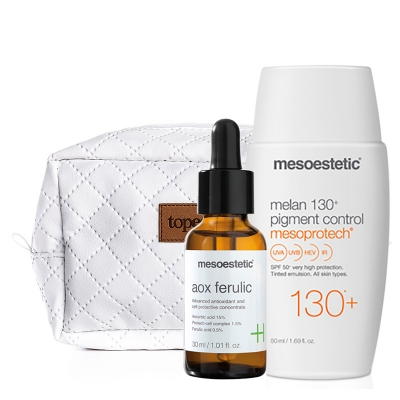 Mesoestetic Mesoprotech Melan SPF 130+ + AOX Ferulic + Kosmetyczka ZESTAW Fluid koloryzujacy SPF130+ 50 ml + Antyoksydacyjne serum z witaminą C 30 ml + Biała, pikowana kosmetyczka