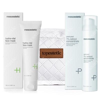 Mesoestetic Peel Retinol + Vital Face Mask + Kosmetyczka ZESTAW Koncentrat z retinolem 100 ml + Maska odżywczo-nawilżająca 100 ml + Kosmetyczka 1 szt.
