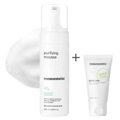Mesoestetic Puryfying Mousse + Acne One ZESTAW Pianka do mycia twarzy do skóry tłustej i trądzikowej 150 ml + Aktywny krem 50 ml
