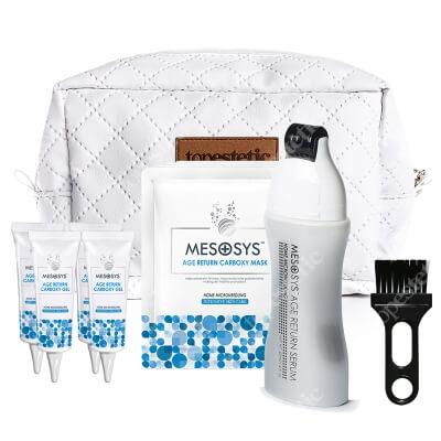 Mesosys Age Return Set ZESTAW Maska na twarz 20 g + płat 4 szt. + Serum przeciwzmarszczkowe z rollerem z mikroigłami 40 ml + Kosmetyczka 1 szt