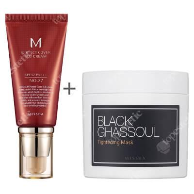 Missha Perfect Cover BB Cream SPF42/PA+++ No 27 + Black Ghassoul Tightening Mask ZESTAW Krem BB chroniący przed promieniami UV (kolor Honey Beige) 50 ml + Maska pielęgnująca i zwężająca pory 95 g