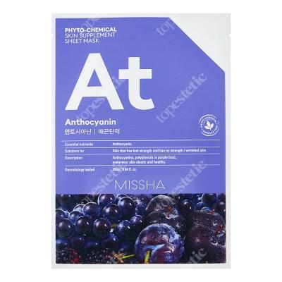 Missha Phytochemical Skin Supplement Sheet Mask (Anthocyanin) Maseczka w niebieskiej płachcie, uelastycznia skórę 25 ml