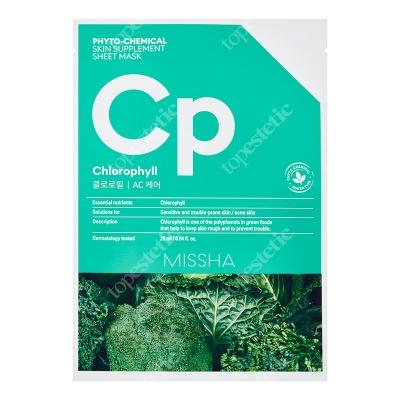 Missha Phytochemical Skin Supplement Sheet Mask (Chlorophyll) Maseczka w zielonej płachcie, łagodzi podrażnioną skórę 25 ml