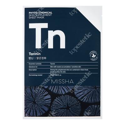 Missha Phytochemical Skin Supplement Sheet Mask (Tannin) Maseczka w ciemnej płachcie, kontroluje nadmiar sebum oraz oczyszcza skórę 25 ml