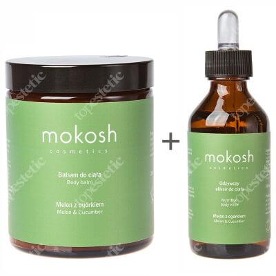 Mokosh Body Balm Melon&Cucumber + Nutritive Body Elixir Melon & Cucumber ZESTAW Balsam do ciała melon z ogórkiem 180 ml + Odżywczy eliksir do ciała - Melon z ogórkiem 100 ml