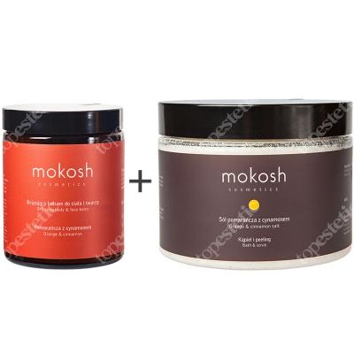 Mokosh Bronzing Body & Face Balm Orange & Cinnamon + Orange & Cinnamon Salt ZESTAW Brązujący balsam do ciała i twarzy 180 ml + Sól do kąpieli 600 g