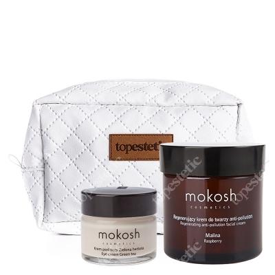 Mokosh Herbata z Malinami ZESTAW Korygujący krem pod oczy 15 ml + Regenerujący krem do twarzy 60 ml + Kosmetyczka