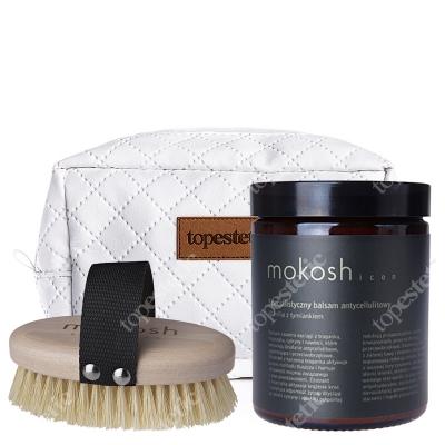 Mokosh Icon Balsam Antycellulitowy + Body Brush ZESTAW Balsam wanilia z tymiankiem 180 ml + Szczotka do masażu ciała 1 szt. + kosmetyczka
