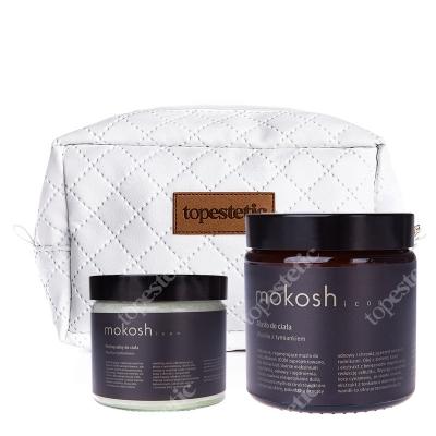 Mokosh Icon Masło + Peeling Solny Do Ciała ZESTAW Masło wanilia z tymiankiem 120 ml + Peeling wanilia z tymiankiem 30 g + kosmetyczka