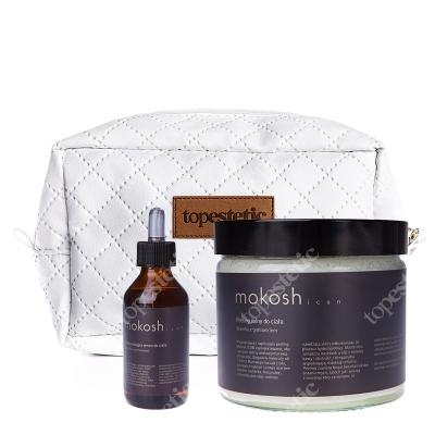 Mokosh Icon Peeling + Rozświetlające Serum Do Ciała ZESTAW Peeling wanilia z tymiankiem 300 g + Serum 12 ml + kosmetyczka