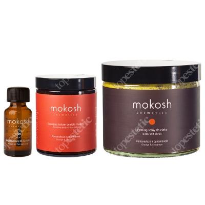 Mokosh Korzenna Pomarańcza ZESTAW Olej arganowy do paznokci 12 ml + Peeling solny do ciała 300 g + Brązujący balsam do ciała 180 ml