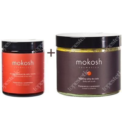 Mokosh Pomarańcza i Cynamon ZESTAW Peeling solny do ciała, Pomarańcza z cynamonem 300 g + Brązujący balsam do ciała i twarzy, Pomarańcza z cynamonem 180 ml
