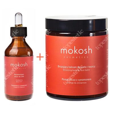 Mokosh Pomarańcza Z Cynamonem ZESTAW Brązujący balsam do ciała i twarzy 180 ml + Rozświetlający eliksir do ciała 100 ml