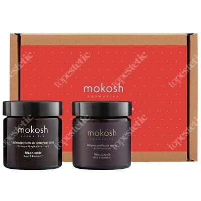 Mokosh Rose & Blueberry Set ZESTAW Ujędrniający krem do twarzy anty-aging róża z jagodą 60 ml + Aktywny peeling do twarzy róża z jagodą 60 ml