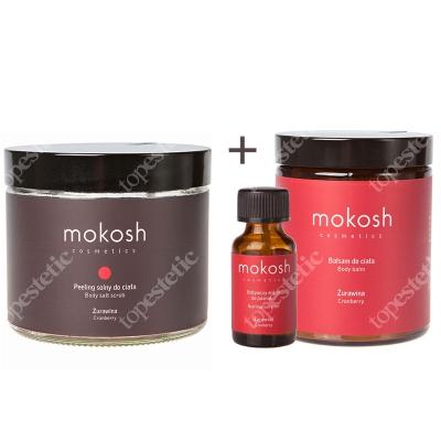 Mokosh Zestaw Żurawina ZESTAW Eliksir do paznokci 10 ml + Peeling solny do ciała 300 g + Balsam do ciała 180 ml