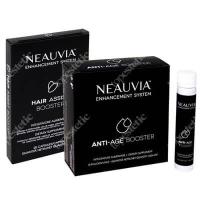 Neauvia Anti-Age Booster + Hair Assist Booster ZESTAW Ampułki przeciwstarzeniowe 10 x 25 ml + Wzmocnienie skóry głowy 20 kaps