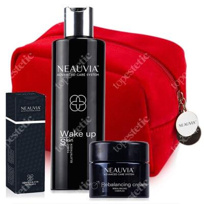 Neauvia Contour Eye Serum Man + Wake Up Skin + Rebalancing Cream Man ZESTAW Serum pod oczy 15 ml + Tonik energetyzujący 250 ml + Krem dla mężczyzn 15 ml + Kosmetyczka