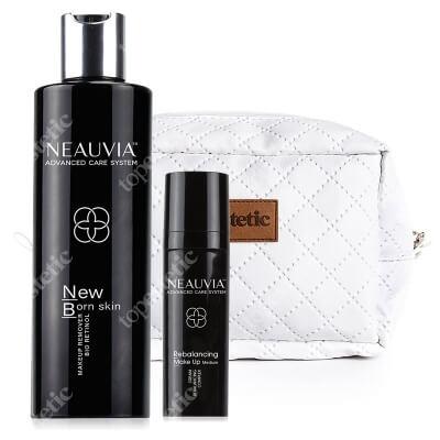 Neauvia New Born Skin + Rebalancing Make Up Medium ZESTAW Mleczko do demakijażu 250 ml + Pozabiegowy make-up kolor medium 30 ml + Kosmetyczka