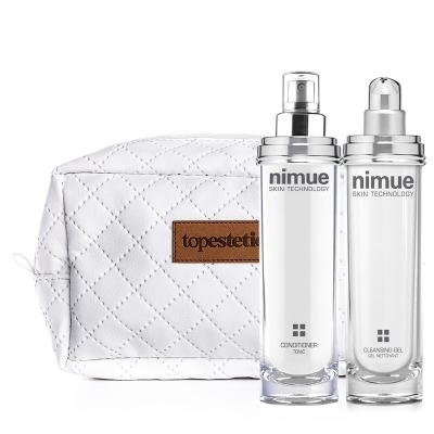 Nimue Conditioner + Cleansing Gel + Kosmetyczka ZESTAW Odżywka, tonik kondycjonujący 140 ml + Żel oczyszczający 140 ml + Biała, pikowana kosmetyczka