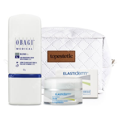 Obagi Elastiderm Eye Treatment Cream + Nu-derm Blend Fx ZESTAW Krem przeciwzmarszczkowy na okolice oka 15 g + Krem rozjaśniający na noc 57 g + Kosmetyczka