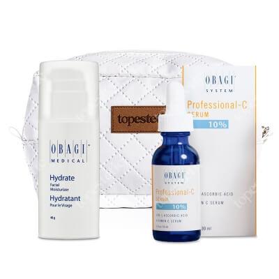 Obagi Hydrate + C Serum 10% + Kosmetyczka ZESTAW Długotrwale nawilżający krem 48 g + Serum w formie kwasu L-askorbinowego 30 ml + Kosmetyczka