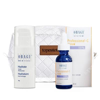 Obagi Hydrate + C Serum 15% + Kosmetyczka ZESTAW Długotrwale nawilżający krem 48 g + Serum w formie kwasu L-askorbinowego 30 ml + Kosmetyczka