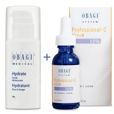 Obagi Hydrate + C Serum 15% ZESTAW Długotrwale nawilżający krem 48 g + Serum w formie kwasu L-askorbinowego 30 ml