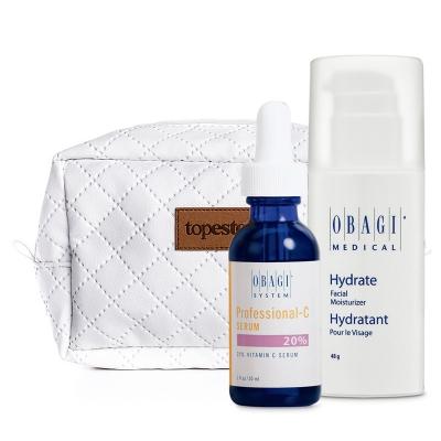 Obagi Hydrate Facial Moisturizer + Professional - C Serum 20% + Kosmetyczka ZESTAW Długotrwale nawilżający krem 48 g + Serum w formie kwasu L-askorbinowego 30 ml + Biała, pikowana kosmetyczka