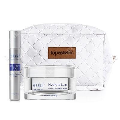 Obagi Hydrate Luxe Moisture Rich Cream + ELASTIderm Eye Complete Complex Serum ZESTAW Krem nawilżający na noc 48 g + Serum pod oczy 14 ml + Kosmetyczka