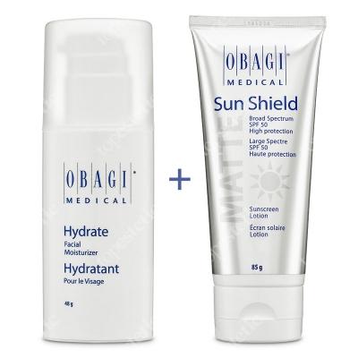 Obagi Hydrate + Sun Shield ZESTAW Długotrwale nawilżający krem 48 g + krem chroniący przed promieniowaniem słonecznym UVA i UVB 85 g