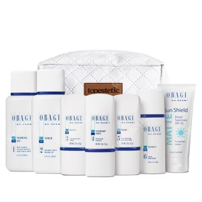 Obagi Nu-Derm Fx Normal/Oily System ZESTAW dla skóry normalnej w kierunku tłustej - 200 ml, 200 ml, 57 ml, 57 ml, 57 ml, 48 ml, 85 g + Kosmetyczka