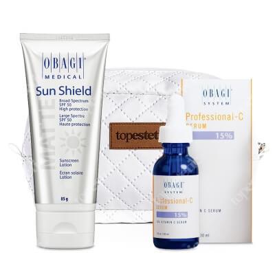 Obagi Sun Shield + C Serum 15% ZESTAW Krem chroniący przed promieniowaniem słonecznym UVA i UVB 85 g + Serum w formie kwasu L-askorbinowego 30 ml + Kosmetyczka