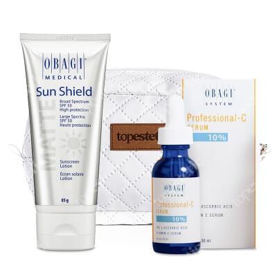 Obagi Sun Shield SPF 50 + C Serum 10% ZESTAW Krem chroniący przed promieniowaniem słonecznym UVA i UVB 85 g + Serum w formie kwasu L-askorbinowego + Kosmetyczka