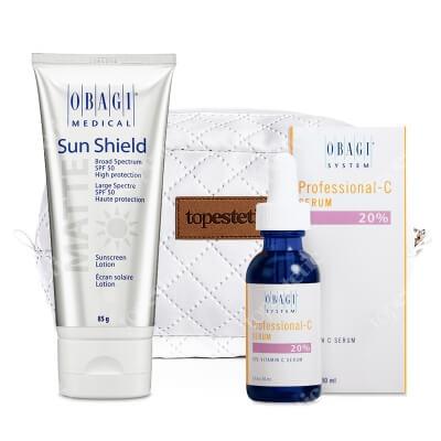 Obagi Sun Shield SPF 50 + C Serum 20% ZESTAW Krem chroniący przed promieniowaniem słonecznym UVA i UVB 85 g + Serum w formie kwasu L-askorbinowego + Kosmetyczka