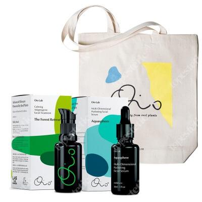 Oio Lab The Forest Retreat + Aquasphere + Oio Lab Bag ZESTAW Wyciszająca kuracja adaptogenna do twarzy 30 ml + Wielopoziomowe serum nawilżające do twarzy 30 ml + Torba 1 szt